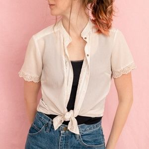 Ivory Lace Liz Claiborne Tee with Wooden Buttons